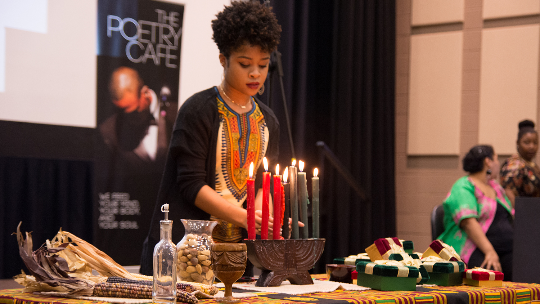 Lighting Kwanzaa candles