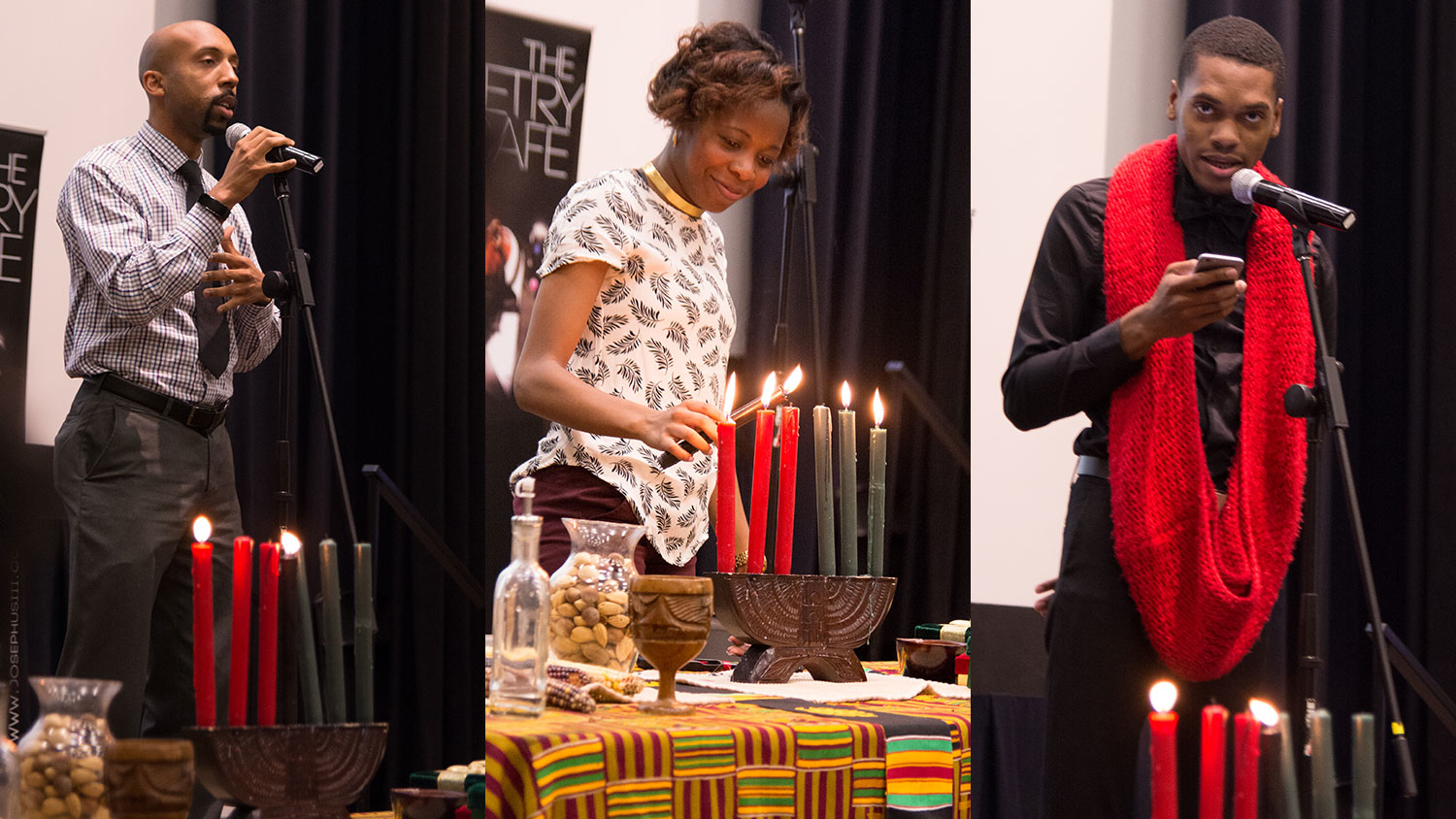 Three images from past Kwanzaa candle lighting