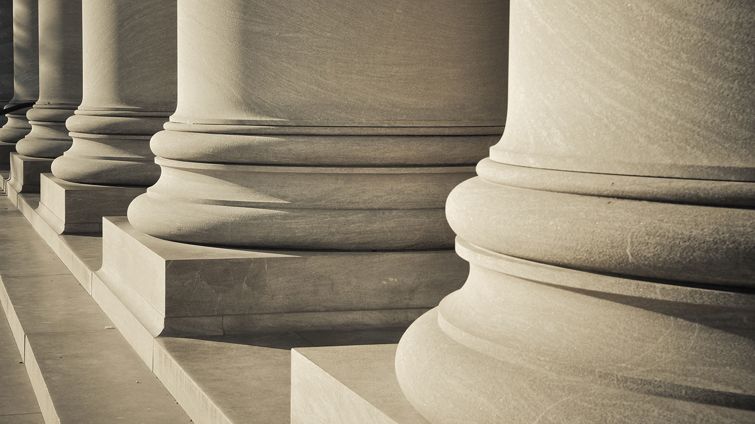 A row of stone columns on a building