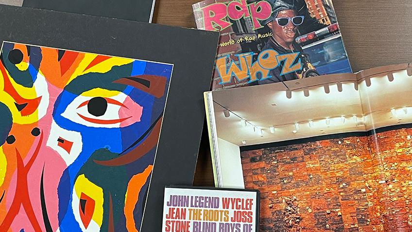 Black art, rap magazine cover and John Legend CD
