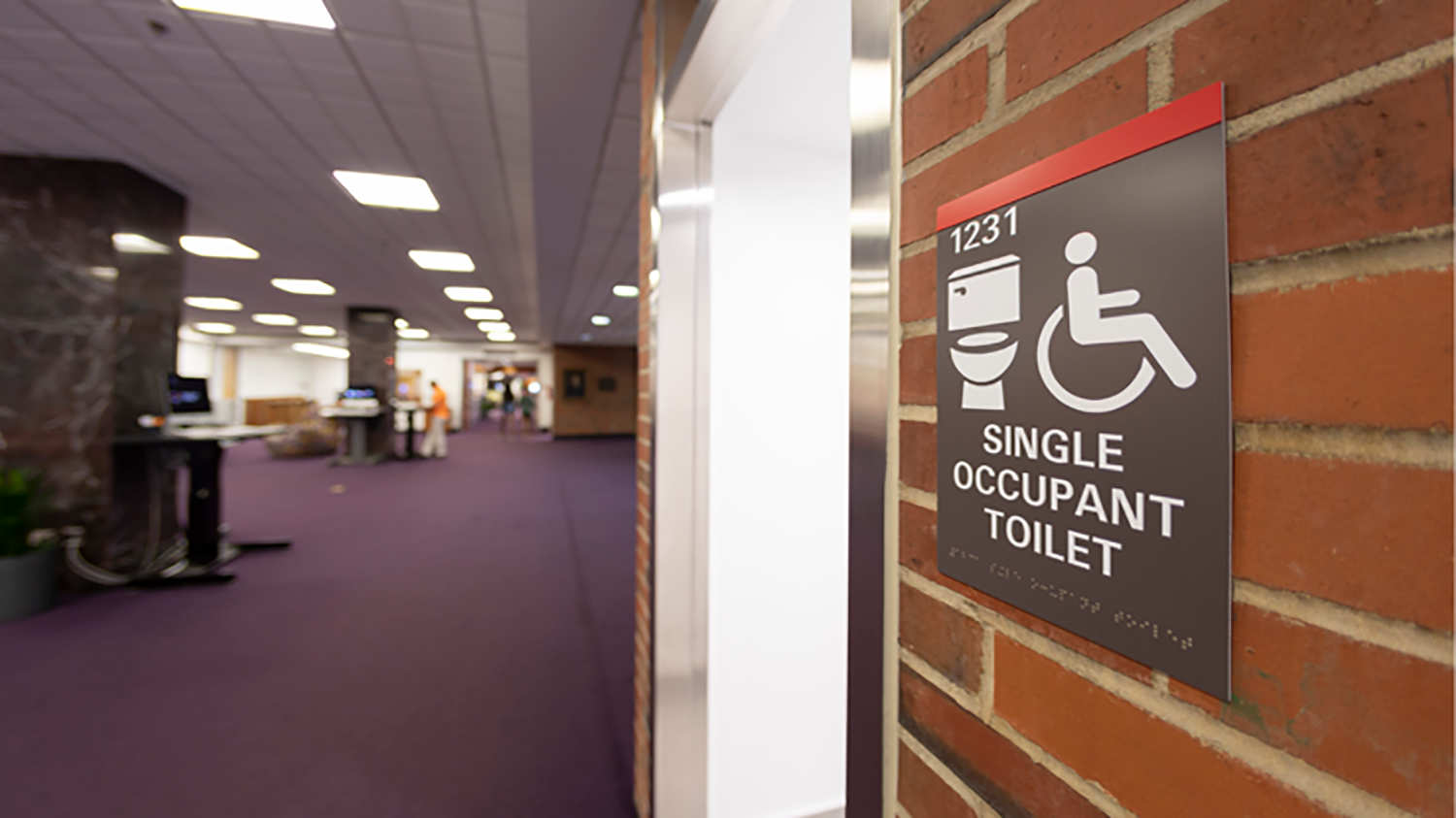 Single occupancy toilet in D.H. Hill Library