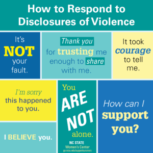 How to Respond to disclosures of Violence