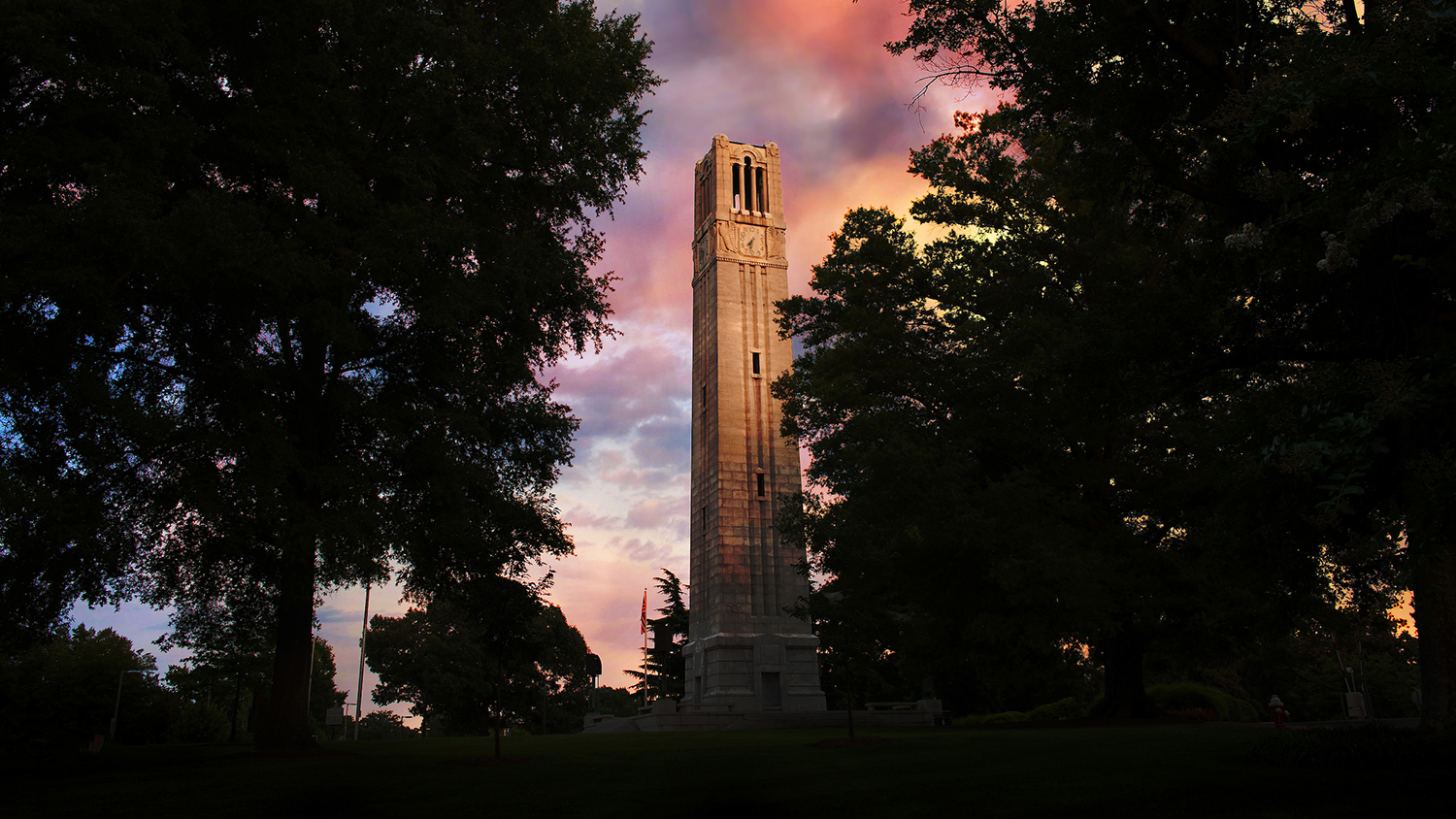 NC State Belltower at dusk