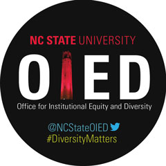 OIED publicity sticker with Twitter handle @NCStateOIED