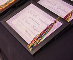 2015 Lavender Graduation certificate and rainbow tassel