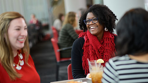 Diverse students eat lunch at 1887 Bistro