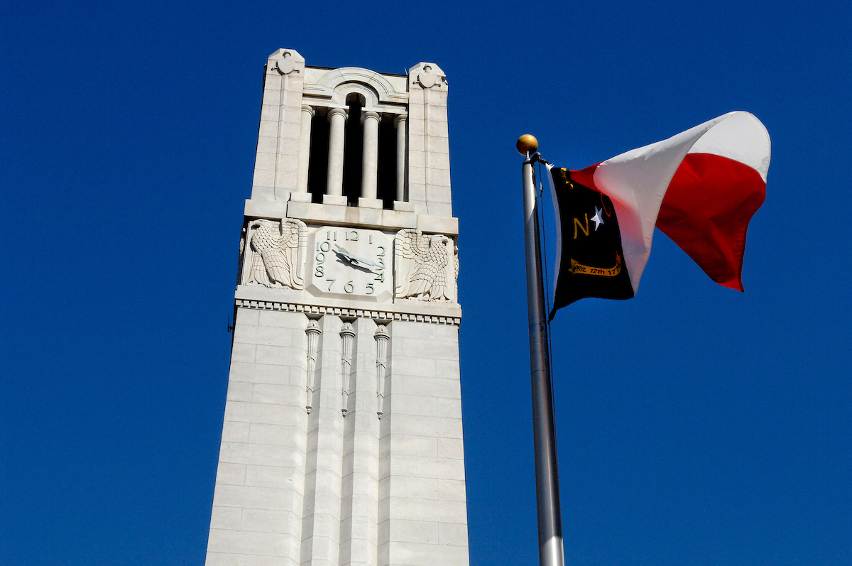 Belltower with NC flag on right
