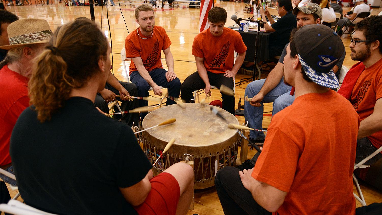 Drum circle at NC State Pow Wow