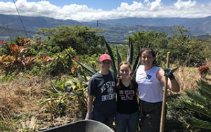 Costa Rica ASB trip students working outside