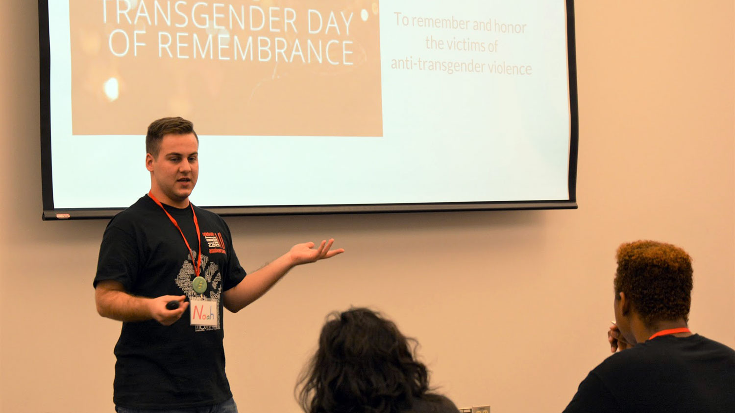 Noah Riley presents at Queer Youth Leadership Summit