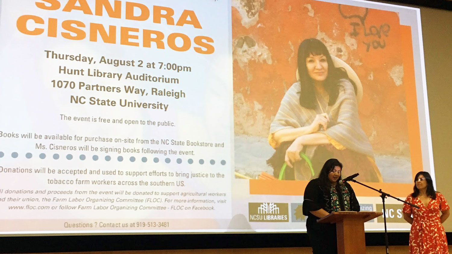 Marcela Torres-Cervantes of NC State introduces speaker and author Sandra Cisneros