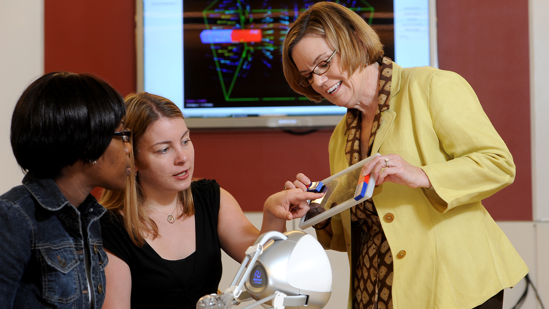 Professor Gail Jones works with students