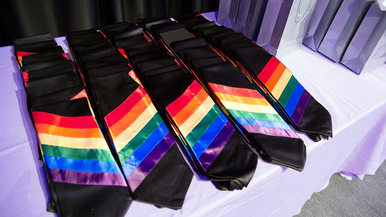 Rainbow graduation stole