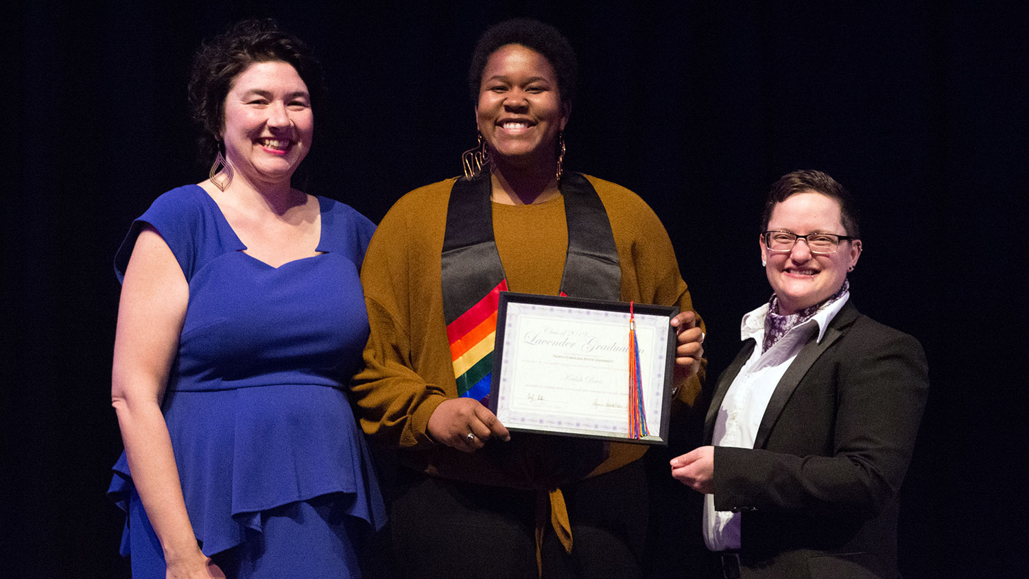 Lavender Graduation speaker and graduate Keilah Davis with Lynn Locklear-Fisher and Andy DeRoin