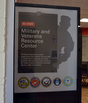 Military and Veterans Service Center door sign
