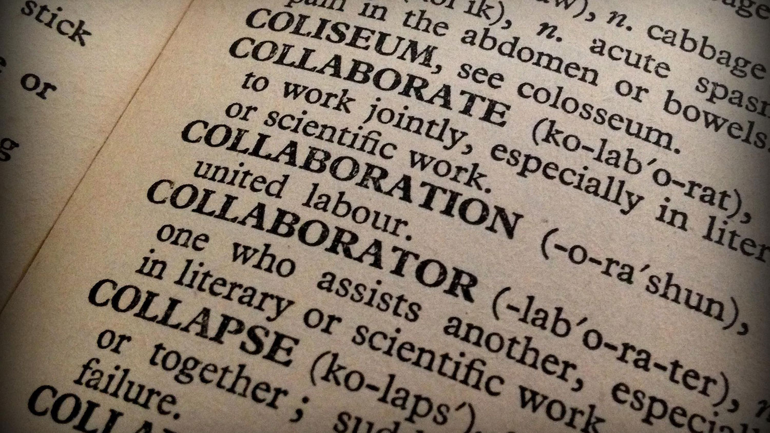 "Dictionary entry for ""collaboration"""