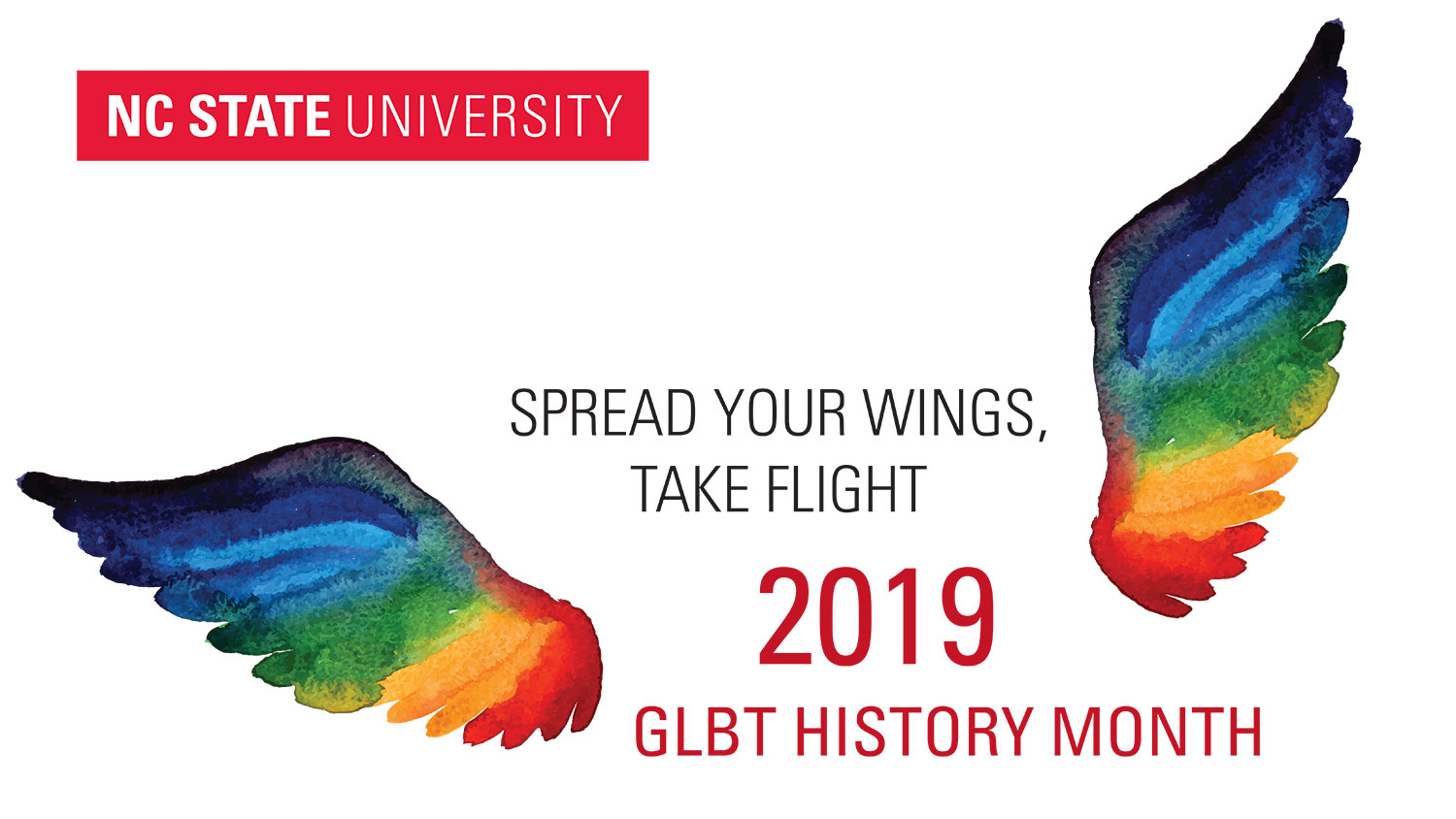 GLBT History Month 2019 illustration of rainbow wings taking flight