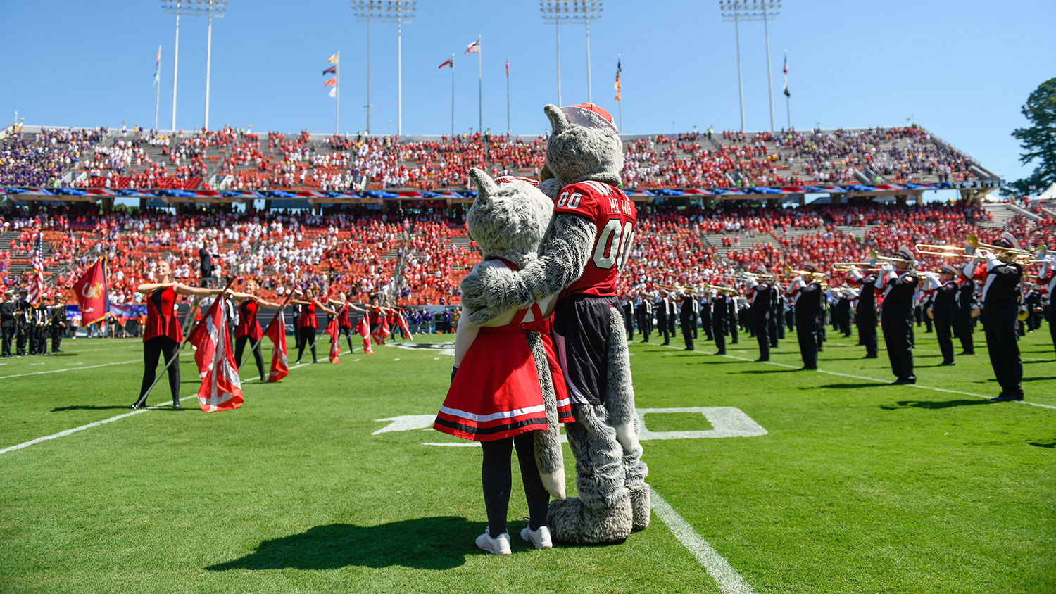 Mr. and Ms. Wuf, NC State mascots at football game