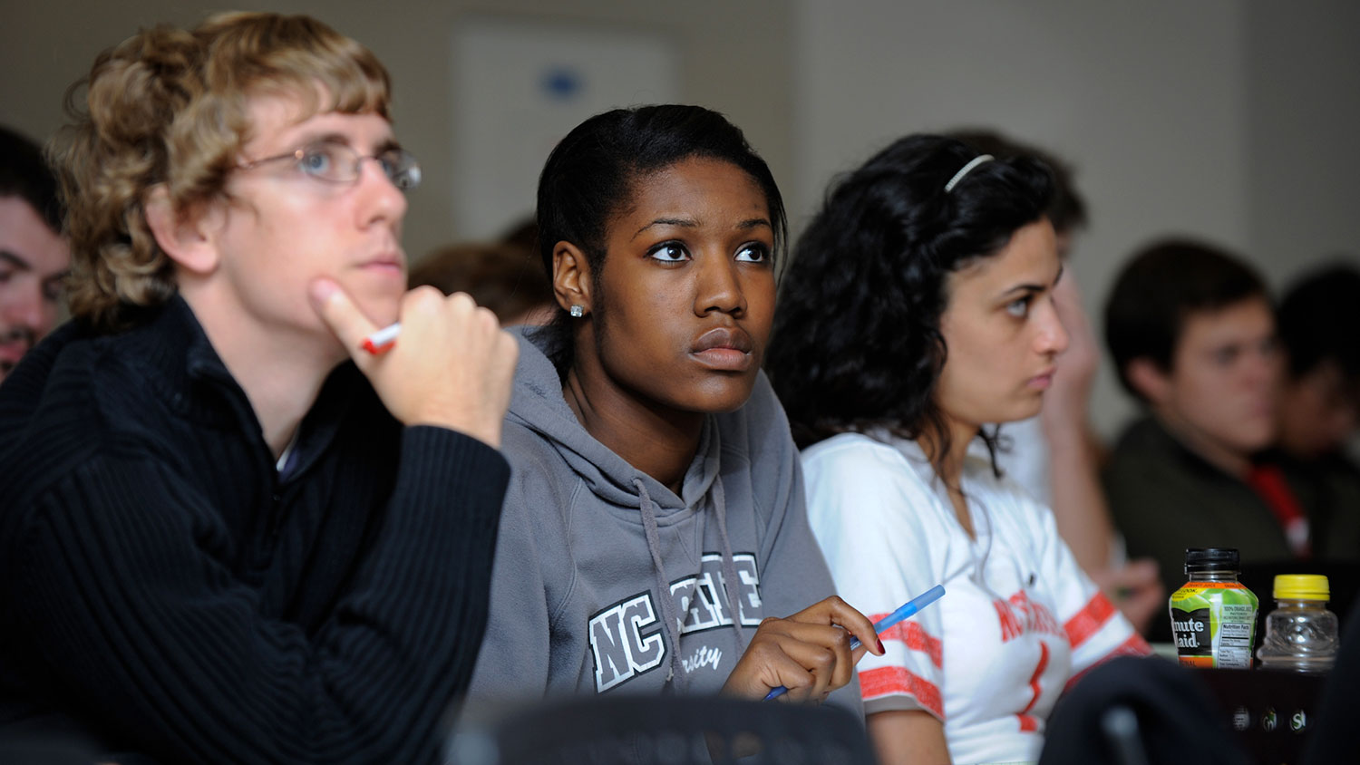 Biomedical engineering classroom with diverse students