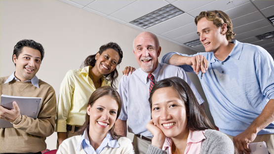 Group of smiling office workers
