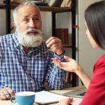 Older man conversing