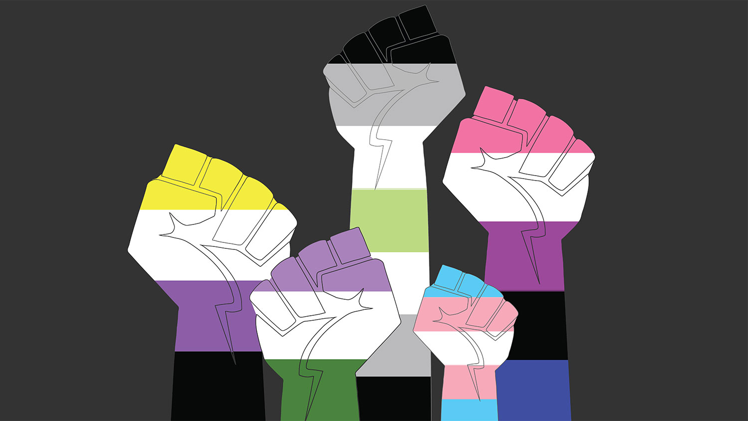 Fists drawn in the colors of nonbinary-gender flags