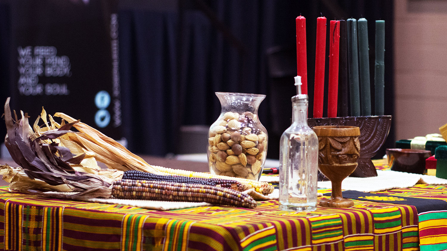 Kwanzaa candles and items