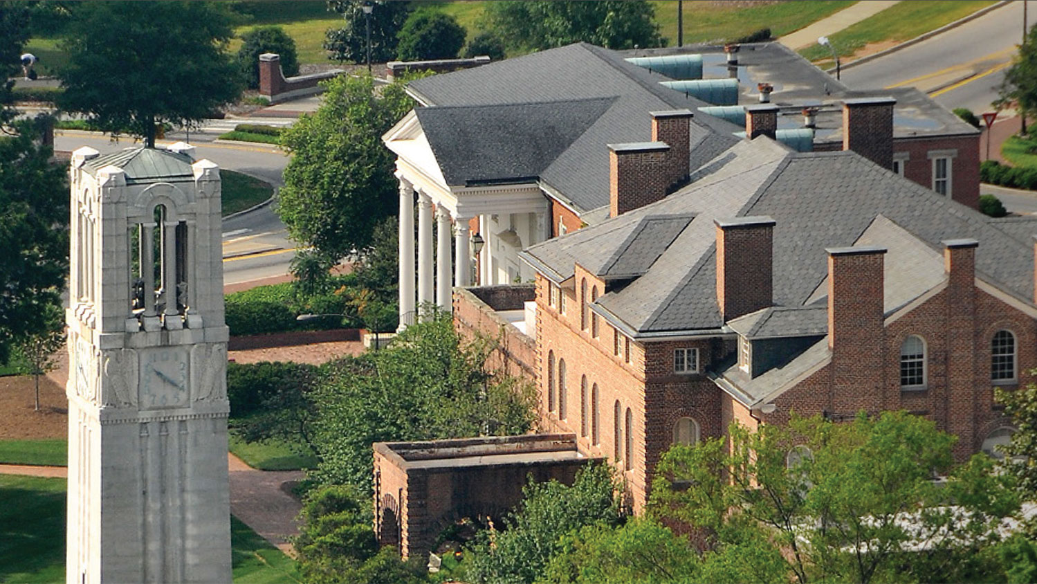 NC State Belltower and Holladay Hall from above