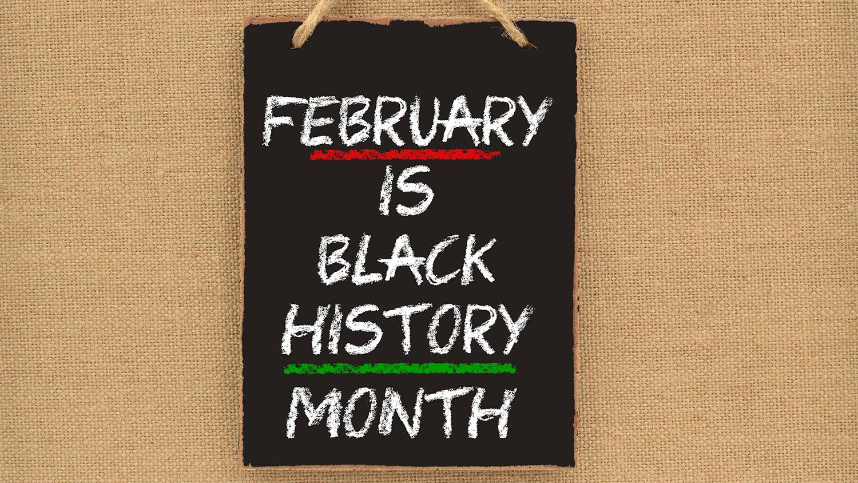 Black History Month written on a chalkboard