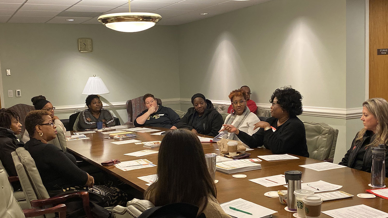 Participants discuss at Staff Senate Parent Chat in December 2019