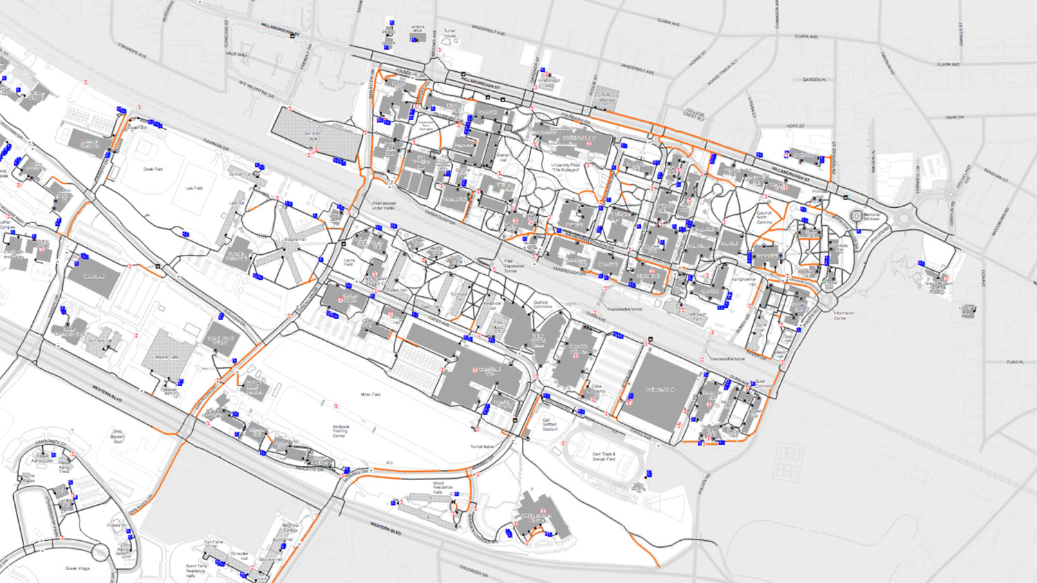 Piece of campus accessibility map