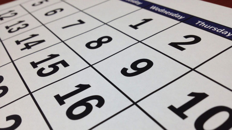 Close-up of a calendar