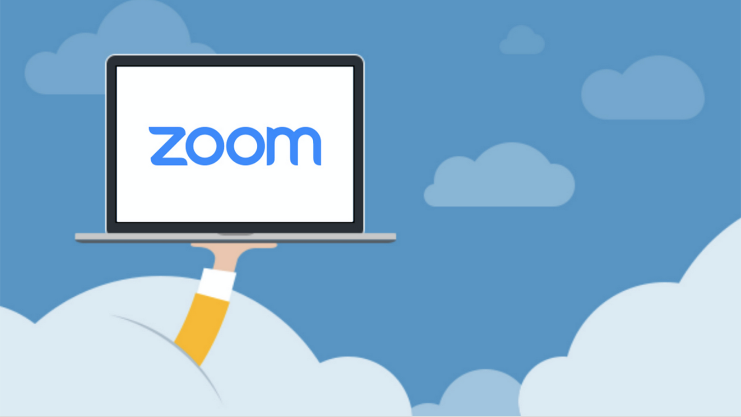 Zoom conferencing tool cartoon of a computer on a cloud