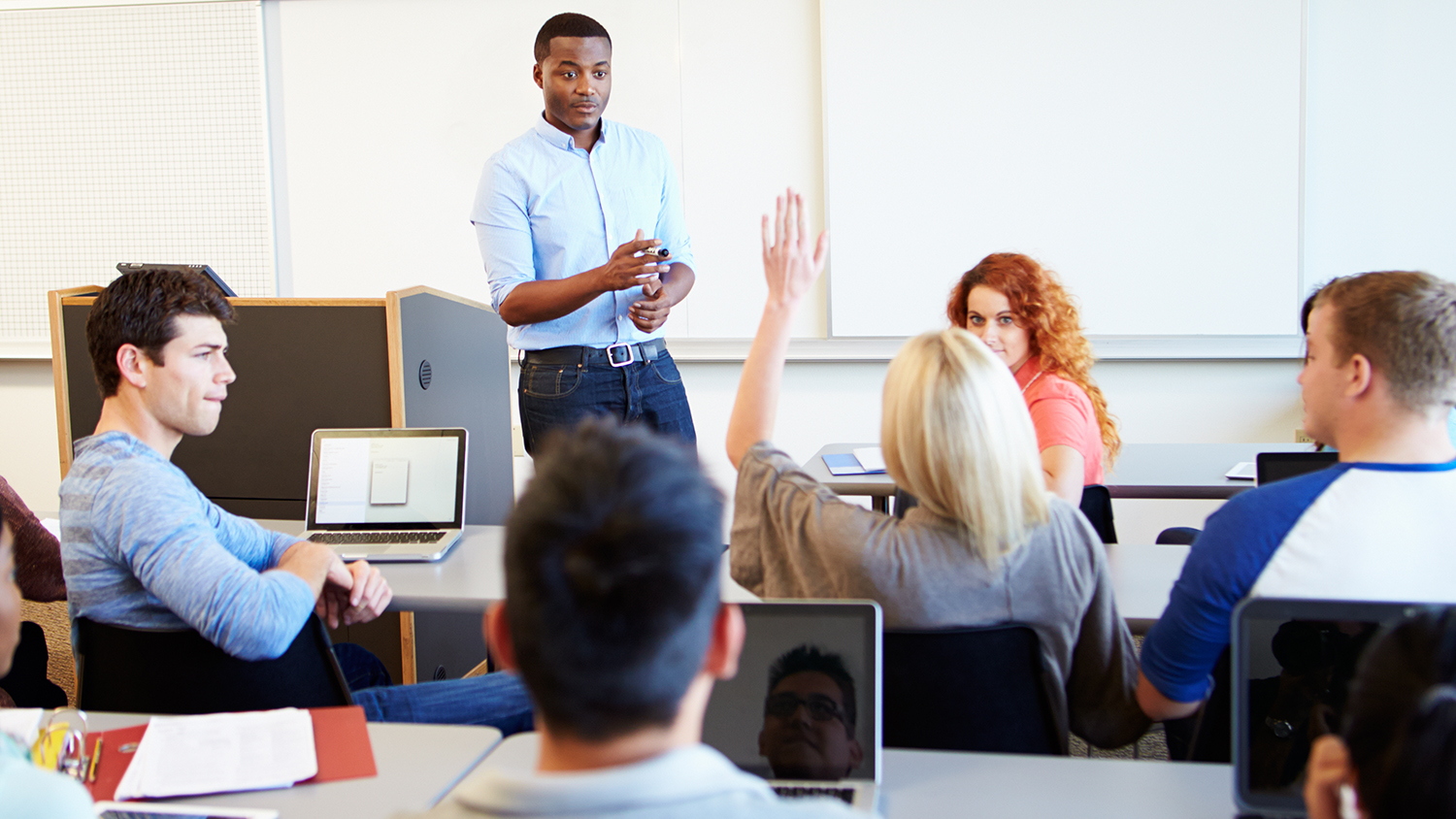 Students participating in a class discussion