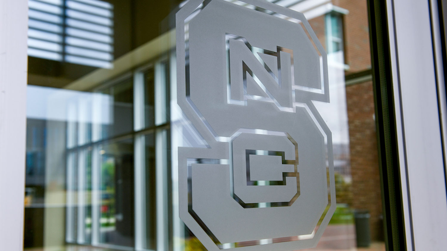 """Window with NC State """"S"""" etching"""